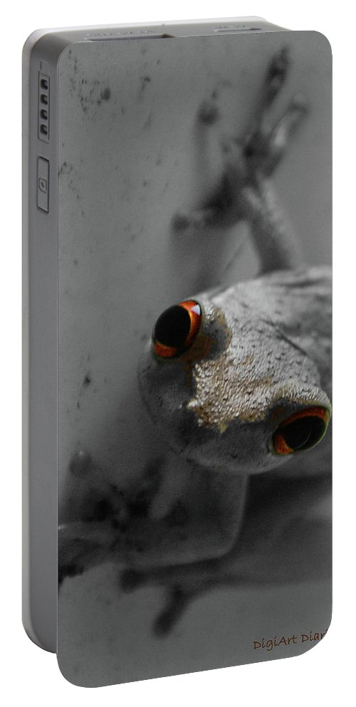 Frog Portable Battery Charger featuring the digital art Ogling Amphibian by DigiArt Diaries by Vicky B Fuller