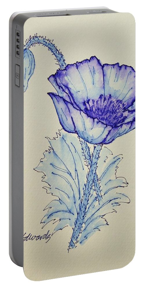 Poppy Portable Battery Charger featuring the drawing Oh Poppy by Marna Edwards Flavell