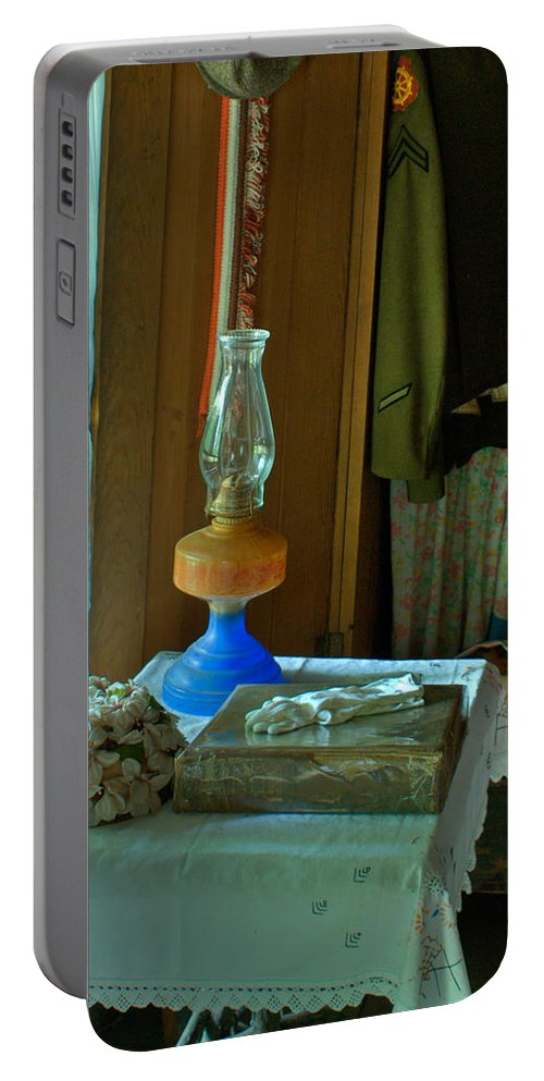 Oil Portable Battery Charger featuring the photograph Oil Lamp And Bible by Douglas Barnett