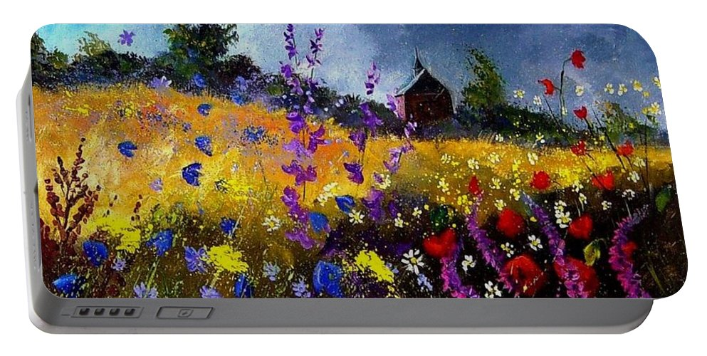 Flowers Portable Battery Charger featuring the painting Old Chapel And Flowers by Pol Ledent