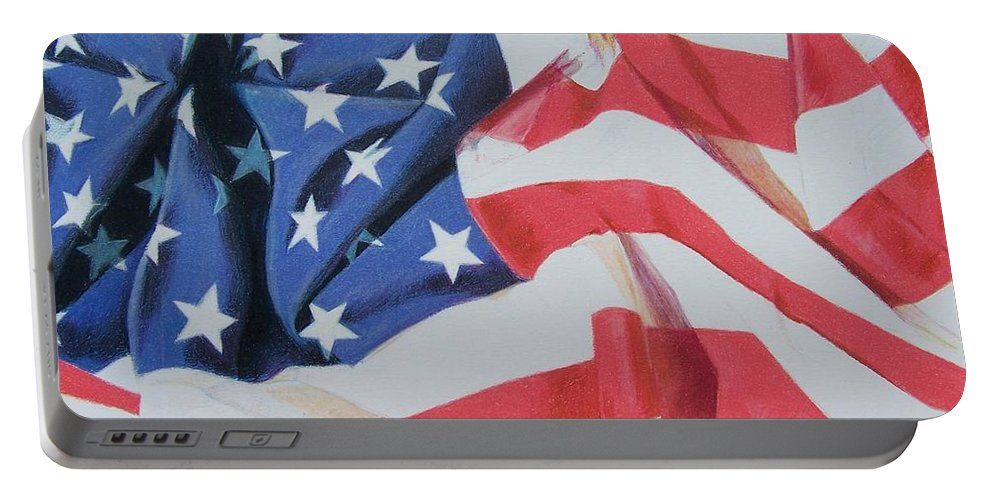 Flag Portable Battery Charger featuring the mixed media Old Glory by Constance Drescher