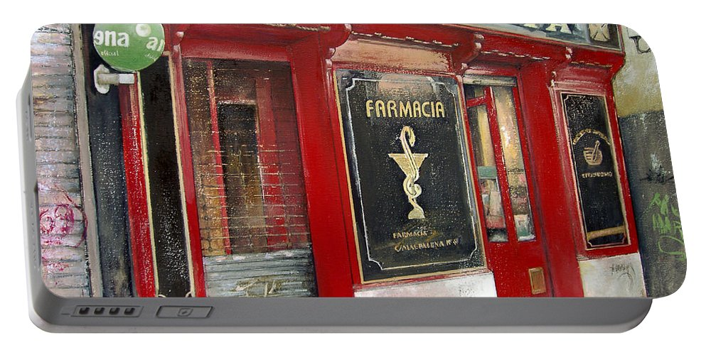 Farmacia Portable Battery Charger featuring the painting Old Pharmacy by Tomas Castano