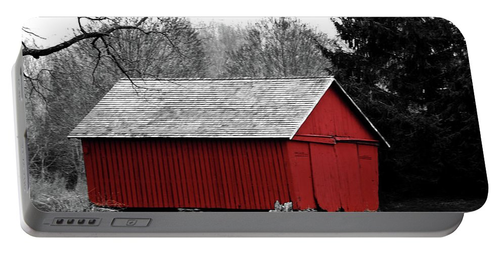 Red Portable Battery Charger featuring the photograph Old Red by Lori Tambakis