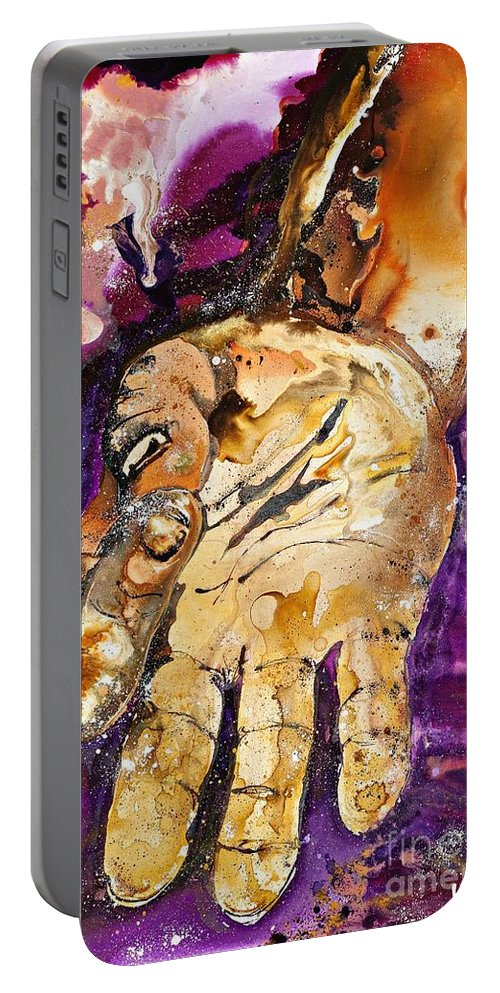 Yoga Portable Battery Charger featuring the painting Om My Gosh by Kasha Ritter