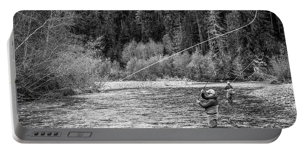 Flyfishing Portable Battery Charger featuring the photograph On the River by Jason Brooks