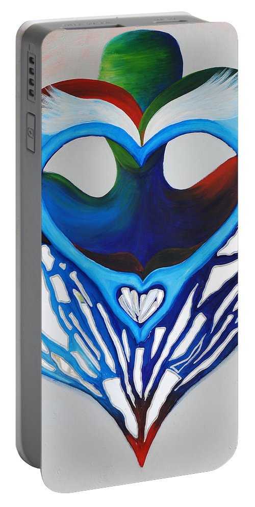 Open Heart Portable Battery Charger featuring the mixed media Open Heart by Catt Kyriacou