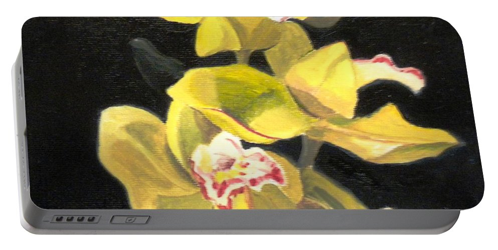 Flowers Portable Battery Charger featuring the painting Orchids by Maralyn Miller