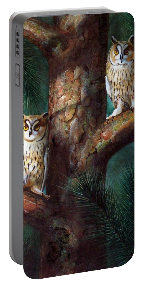 Wildlife Portable Battery Charger featuring the painting Owls In Moonlight by Frank Wilson