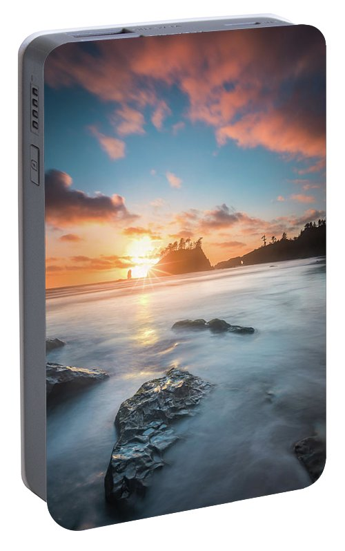 America Portable Battery Charger featuring the photograph Pacific Sunset At Olympic National Park by William Freebilly photography