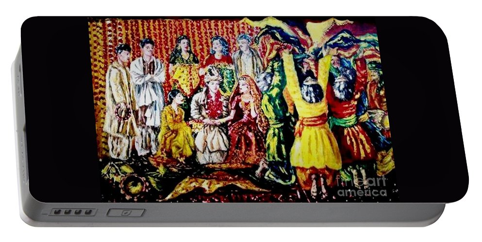 Oil Painting Portable Battery Charger featuring the painting Pakistani Wedding by Fareeha Khawaja