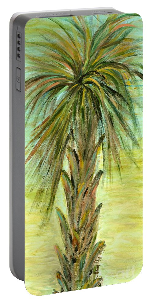 Tree Portable Battery Charger featuring the painting Palm Tree by Nadine Rippelmeyer