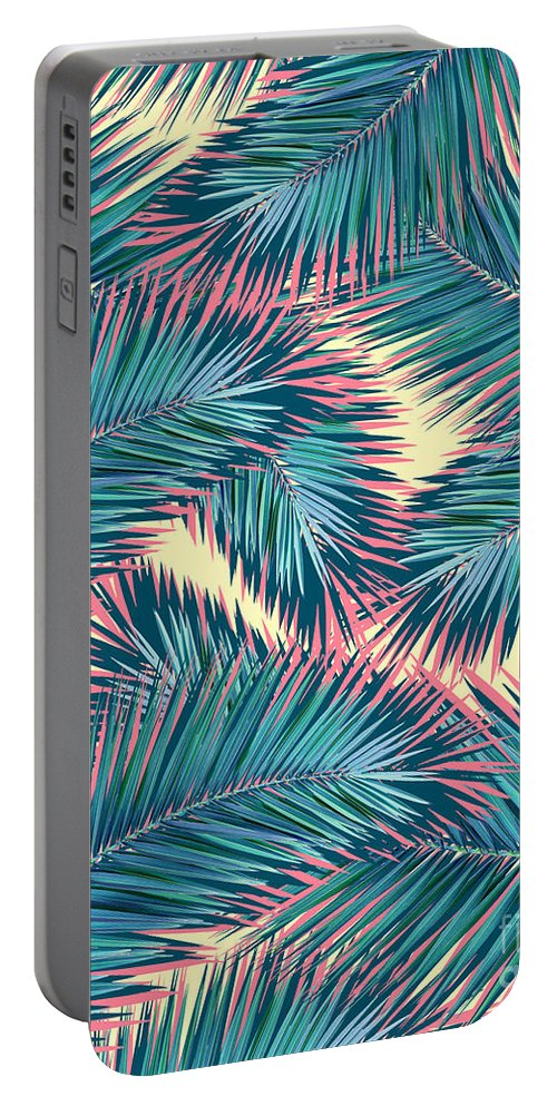 Summer Portable Battery Charger featuring the digital art Palm Trees by Mark Ashkenazi