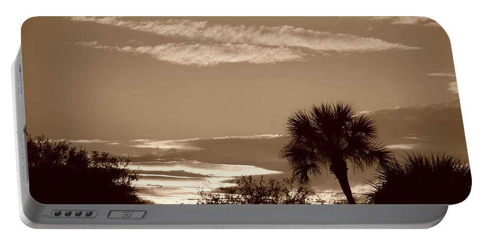 Sepia Portable Battery Charger featuring the photograph Palms In The Clouds by Rob Hans