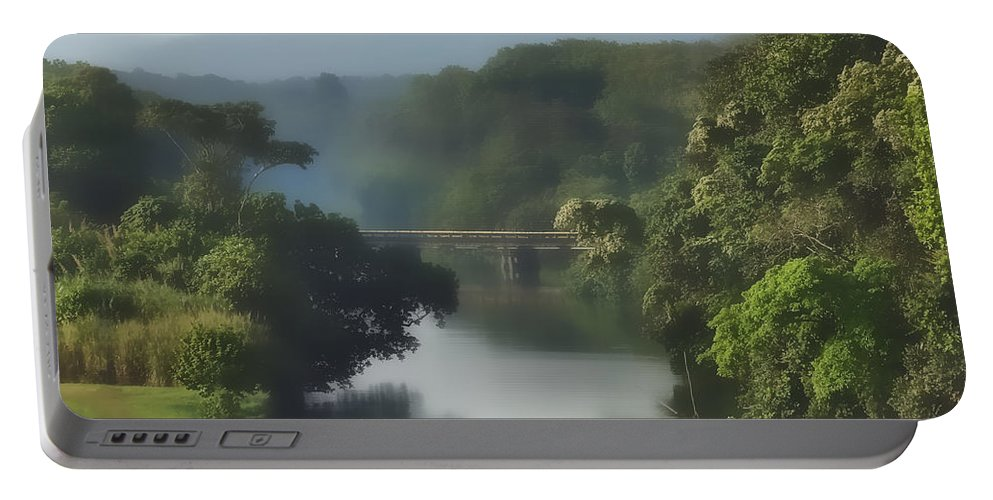 Canal Portable Battery Charger featuring the photograph Panama014soft by Howard Stapleton