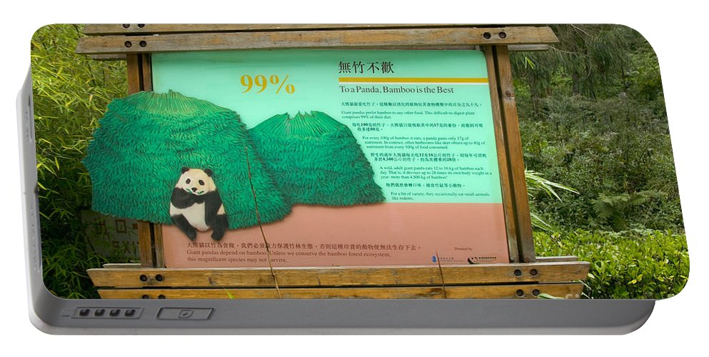Giant Panda Portable Battery Charger featuring the photograph Panda Sign In Wolong Nature Reserve by Inga Spence