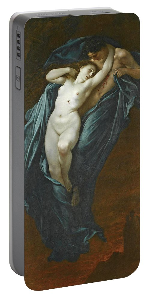 Gustave Dore Portable Battery Charger featuring the painting Paolo And Francesca Da Rimini by Gustave Dore