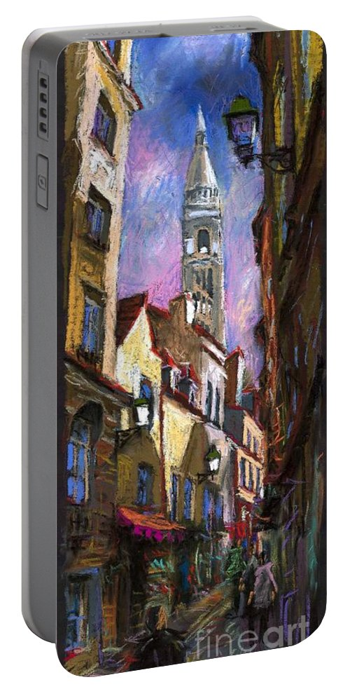 Pastel Portable Battery Charger featuring the painting Paris Montmartre by Yuriy Shevchuk