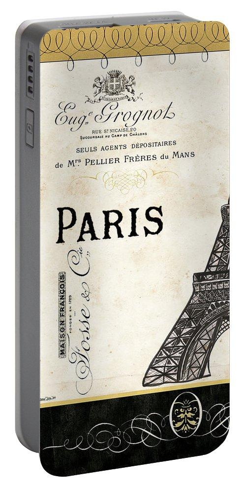 Paris Portable Battery Charger featuring the painting Paris Ooh La La 1 1 by Debbie DeWitt