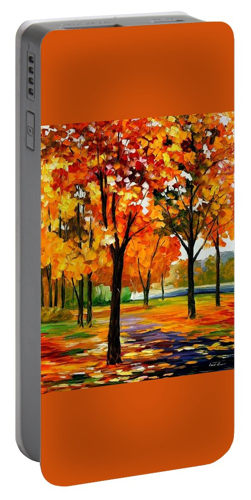 Afremov Portable Battery Charger featuring the painting Park By The River by Leonid Afremov