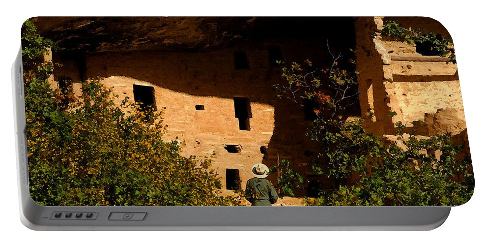 Mesa Verde National Park Colorado Portable Battery Charger featuring the painting Park Ranger by David Lee Thompson