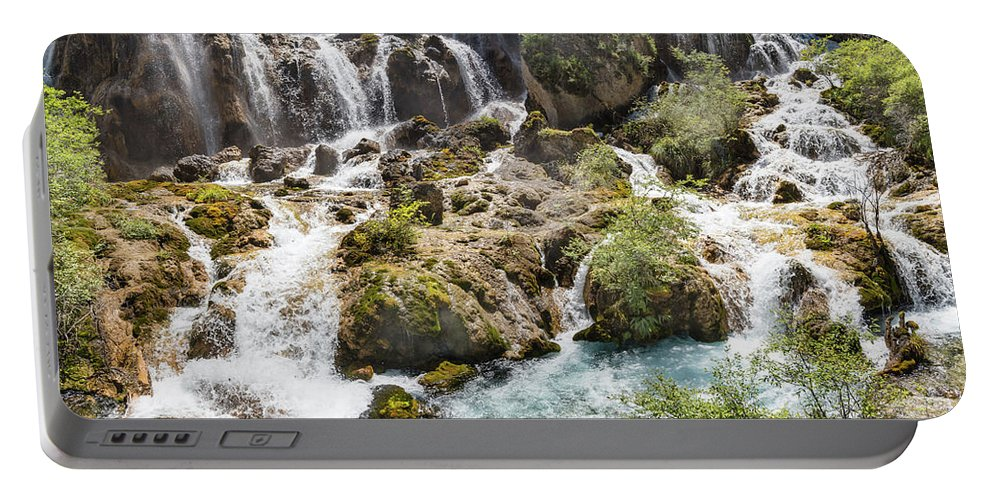 Pearl Portable Battery Charger featuring the photograph Pearl Shoal Waterfall by Paul Martin