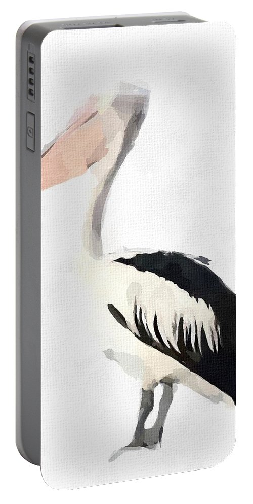 Pelican Portable Battery Charger featuring the painting Pelican by Chris Butler