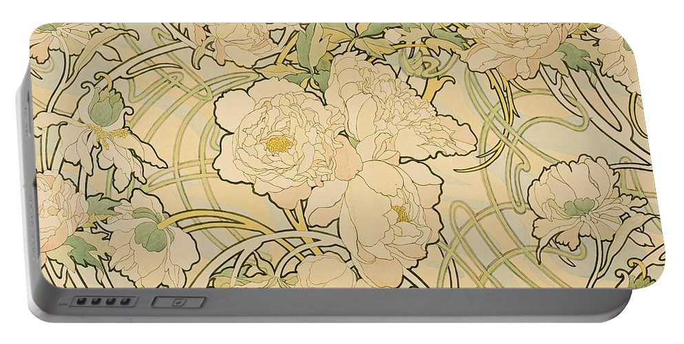 Alfons Mucha Portable Battery Charger featuring the drawing Peonies by Alfons Mucha