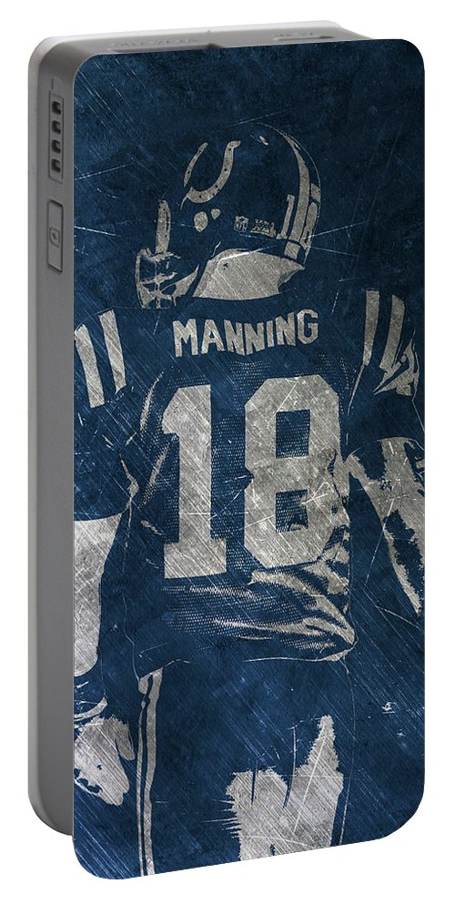 Peyton Manning Portable Battery Charger featuring the painting Peyton Manning Colts 2 by Joe Hamilton