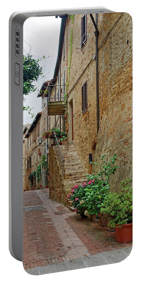 Narrow Pedestrian Street Portable Battery Charger featuring the photograph Pienza Street by Sally Weigand