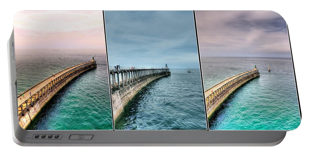 Aqua Portable Battery Charger featuring the photograph Pier by Svetlana Sewell