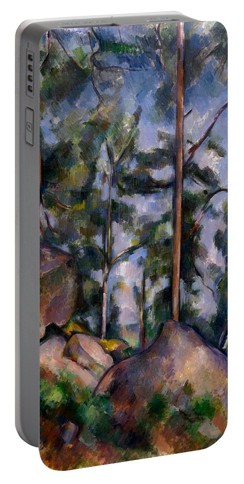 Country Portable Battery Charger featuring the painting Pines And Rocks by Paul Cezanne