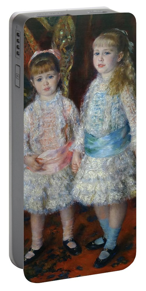 Pink And Blue Portable Battery Charger featuring the painting Pink And Blue by Pierre-Auguste Renoir