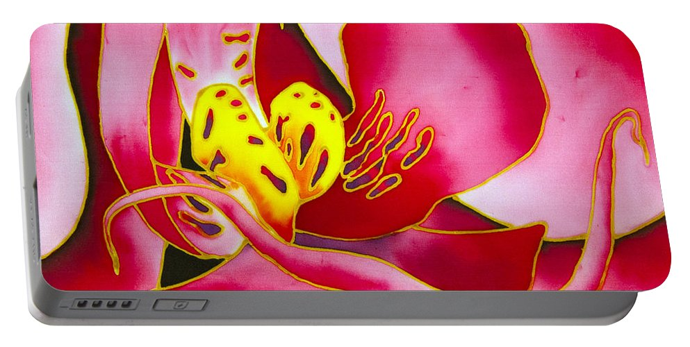 Orchid Portable Battery Charger featuring the painting Pink Orchid by Daniel Jean-Baptiste
