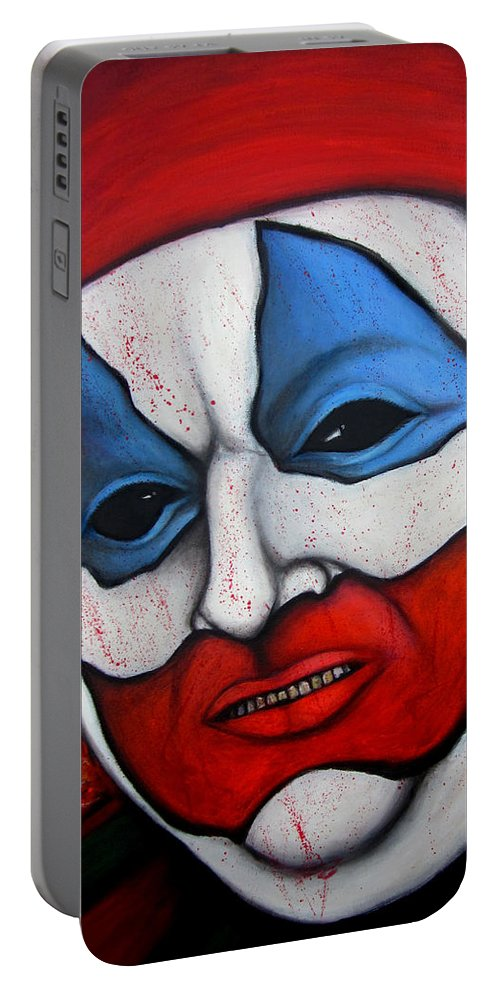John Wayne Gacy Portable Battery Charger featuring the painting Pogo The Clown by Justin Coffman