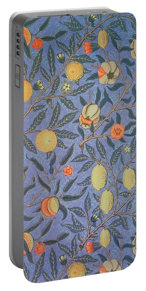 Artistic Portable Battery Charger featuring the painting Pomegranate by William Morris