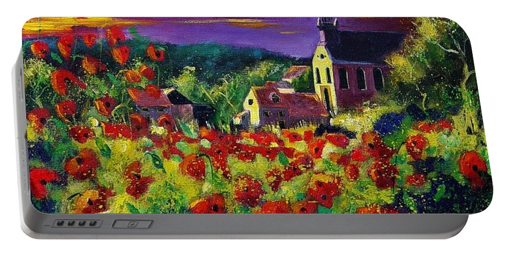 Flowers Portable Battery Charger featuring the painting Poppies In Foy by Pol Ledent