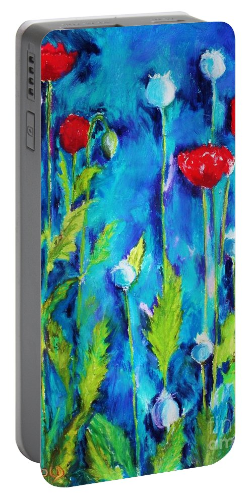 Poppies Portable Battery Charger featuring the painting Poppies by Melinda Etzold