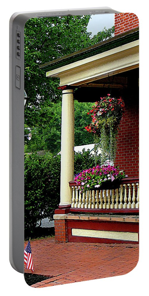 Porch Portable Battery Charger featuring the photograph Porch With Hanging Plants by Susan Savad