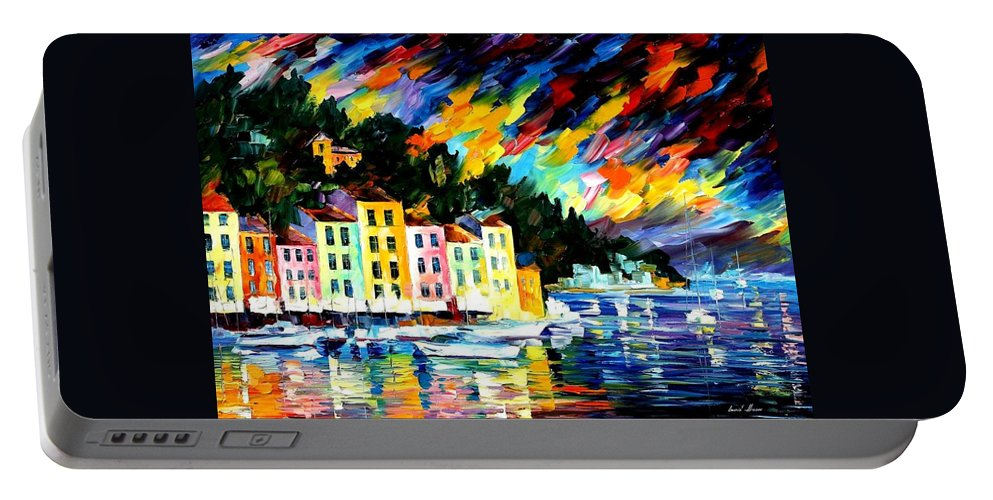 Afremov Portable Battery Charger featuring the painting Portofino Harbor - Italy by Leonid Afremov