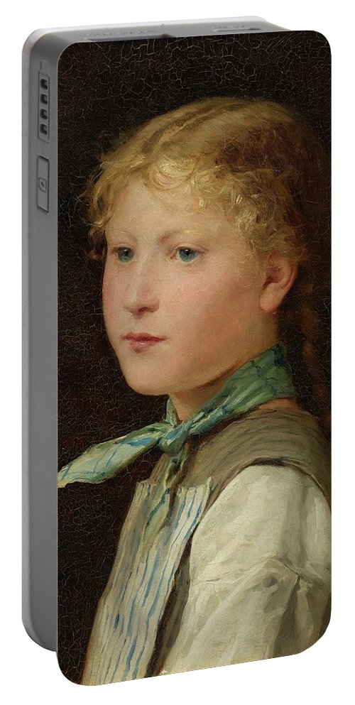 Albert Anker Portable Battery Charger featuring the painting Portrait Of A Girl by Albert Anker