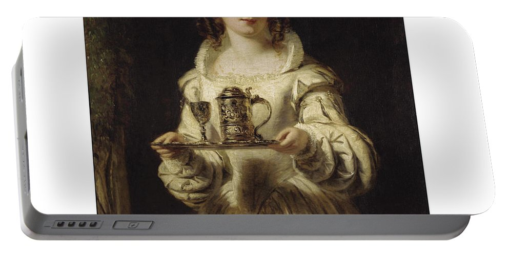 William Powell Frith Portable Battery Charger featuring the painting Portrait Of Anne Page by William Powell