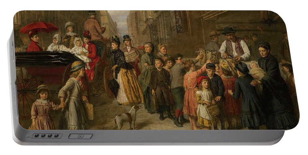 William Powell Frith Portable Battery Charger featuring the painting Poverty And Wealth by William Powell