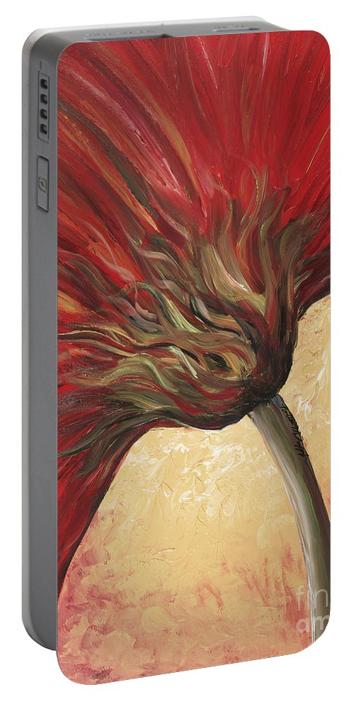 Floral Portable Battery Charger featuring the painting Power Of Red by Nadine Rippelmeyer