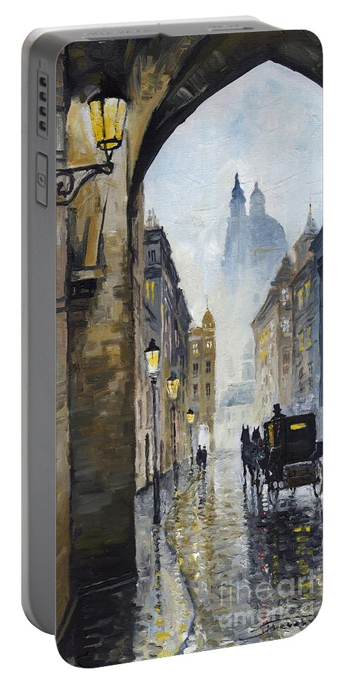 Prague Portable Battery Charger featuring the painting Prague Old Street 01 by Yuriy Shevchuk