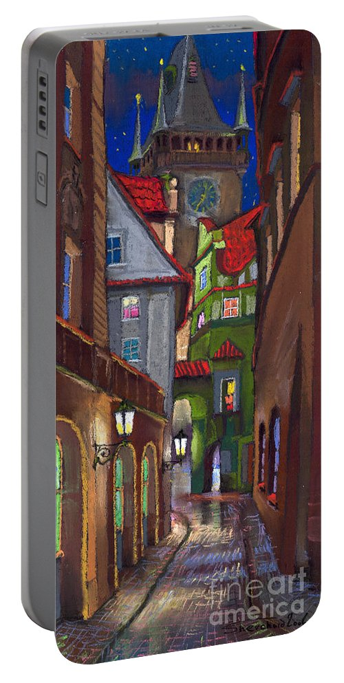 Pastel Portable Battery Charger featuring the painting Prague Old Street by Yuriy Shevchuk
