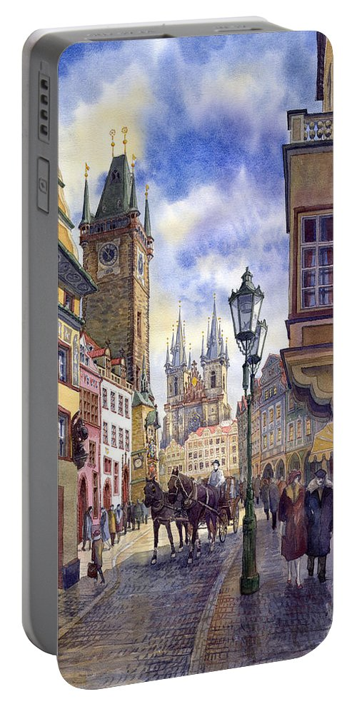 Watercolour Portable Battery Charger featuring the painting Prague Old Town Square 01 by Yuriy Shevchuk