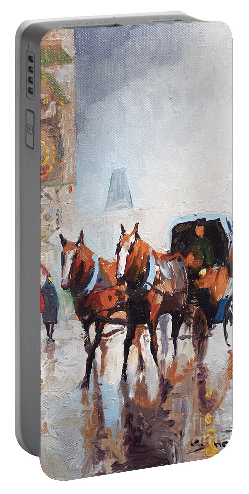 Prague Portable Battery Charger featuring the painting Prague Old Town Square by Yuriy Shevchuk