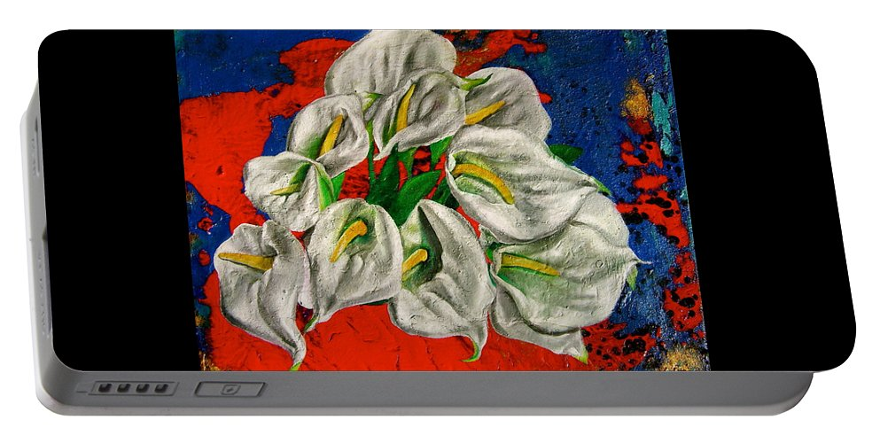 Orchid Painting Portable Battery Charger featuring the painting Preacher In The Pulpit by Laura Pierre-Louis