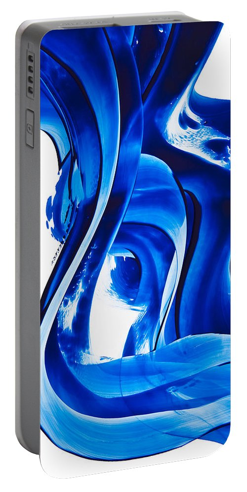 Abstract Art Portable Battery Charger featuring the painting Pure Water 66 by Sharon Cummings