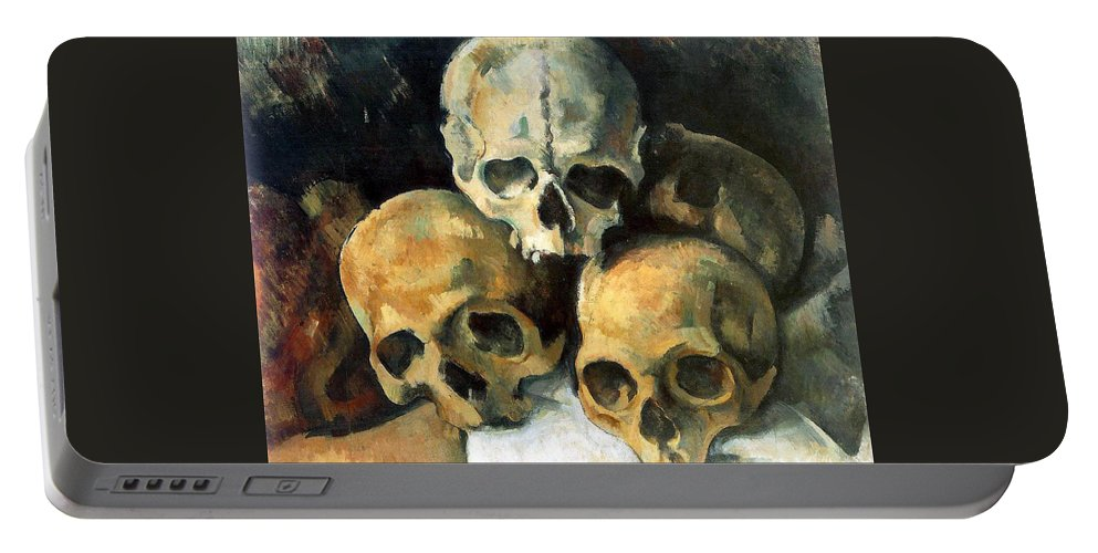 Europe Portable Battery Charger featuring the painting Pyramid Of Skulls by Paul Cezanne